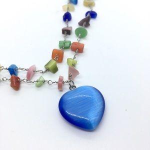 Multicolored Stone Chip Double Strand Necklace